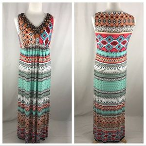 Chico's 1 Beaded Green/Pink Maxi Dress Medium